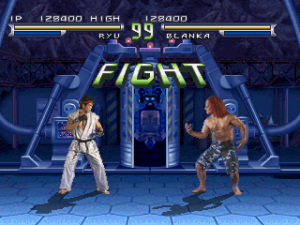 Ryu faces off against Blanka in the home version of Street Fighter: The Movie