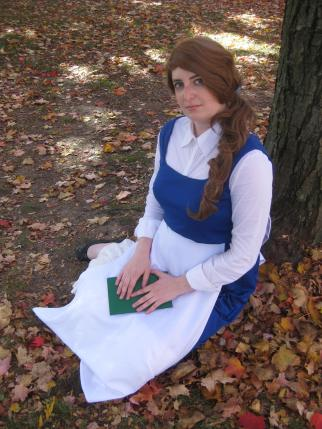 Nikki as Belle by a tree