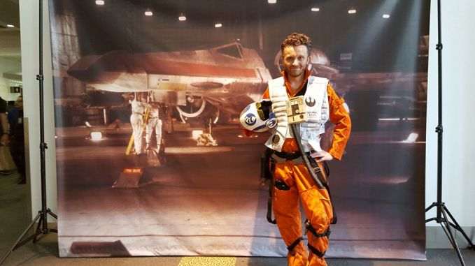 @cbrob on Instagram @cody1227 on twitter Ever since I was a kid I loved watching Star Wars and dreaming I was an X-Wing pilot. This year my dream finally came true and when I saw my reflection in a window I felt like a kid again