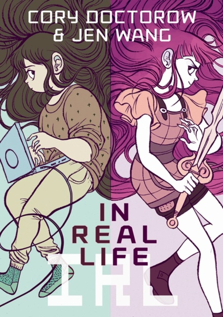 """In Real Life"" cover featuring Anda on the left and her avatar Kali on the right"