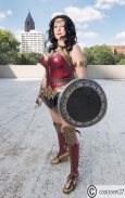Becca S. - Wonder Woman was one of the 2 strong female characters that I grew up watching. She showed me that it was OK to be a badass but still strive for truth, justice, beauty and love.