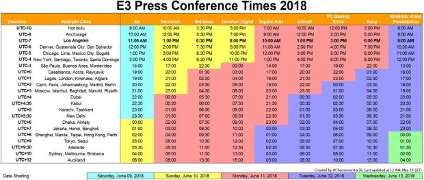 E3 Time Table