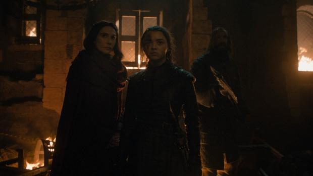 arya, melisandre and the hound