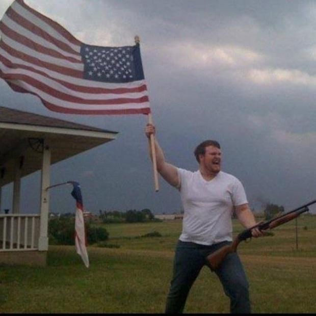 American Flag & Shotgun